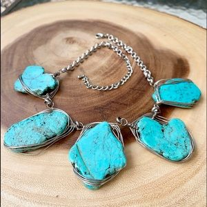 Jewelry - Wire Wrapped Turquoise Statement Necklace